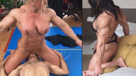 Female bodybuilders wrestling nude