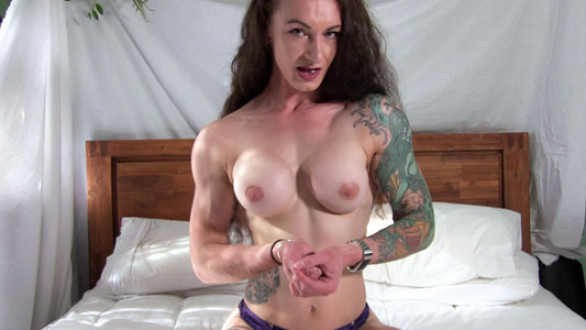 claudia kink topless pec flex