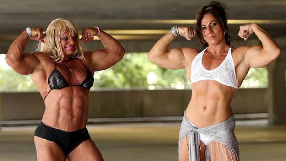 Annie Rivieccio and Maryse Manios flexing biceps