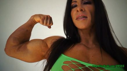Angela Salvagno flexing bicep