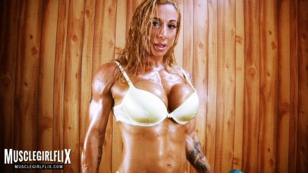 Victoria Lomba oiled up and ready to get topless