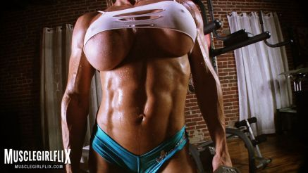amazing body and tits muscle girl