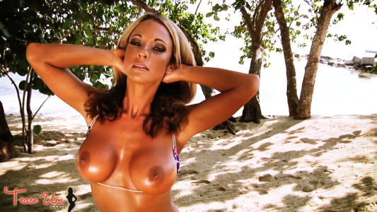 Missy Robinson super tan and topless bikini model