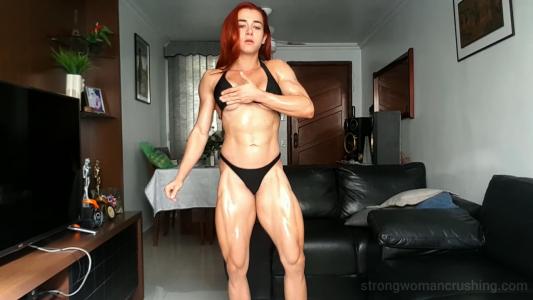 strong girl flexing muscles