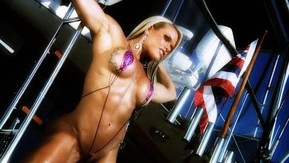 Fitness model Larissa Reis on a boat