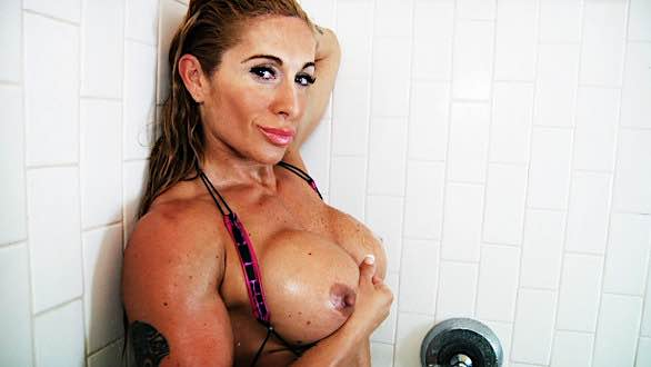 Victoria Lomba topless shower video.