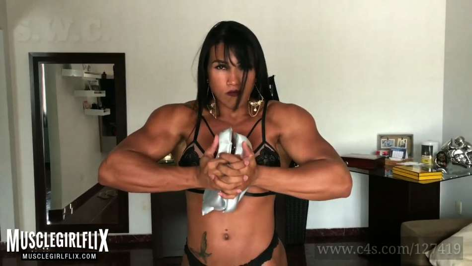 Alessandra Alvez stunning brunette muscle girl with strong arms