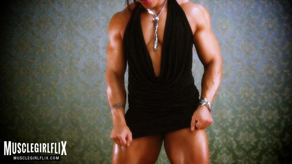 Karen Garrett showing off huge biceps