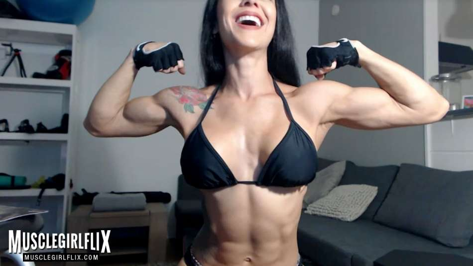 cam girl with sexy lean muscular body