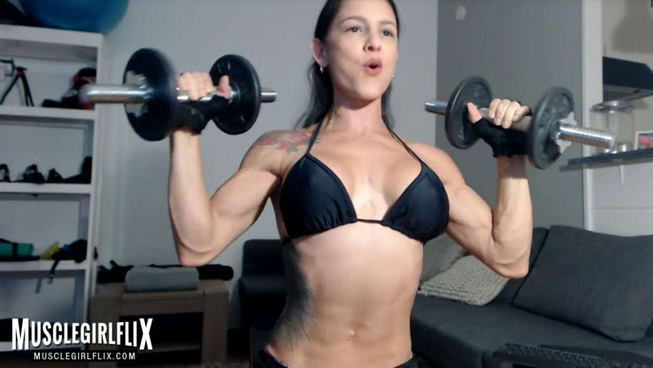 girl on webcam working out