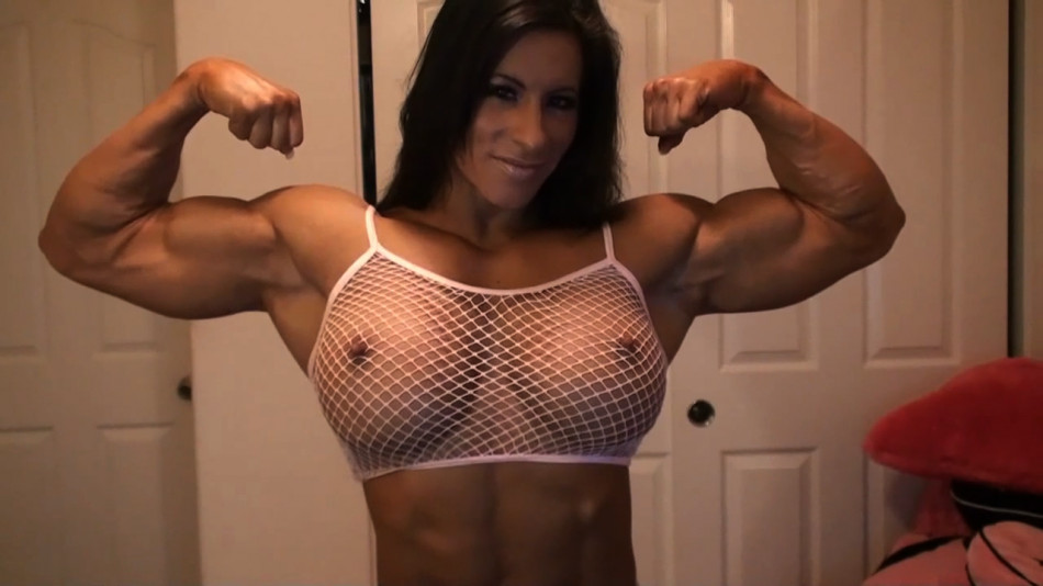 angela salvagno bicep flex on cam