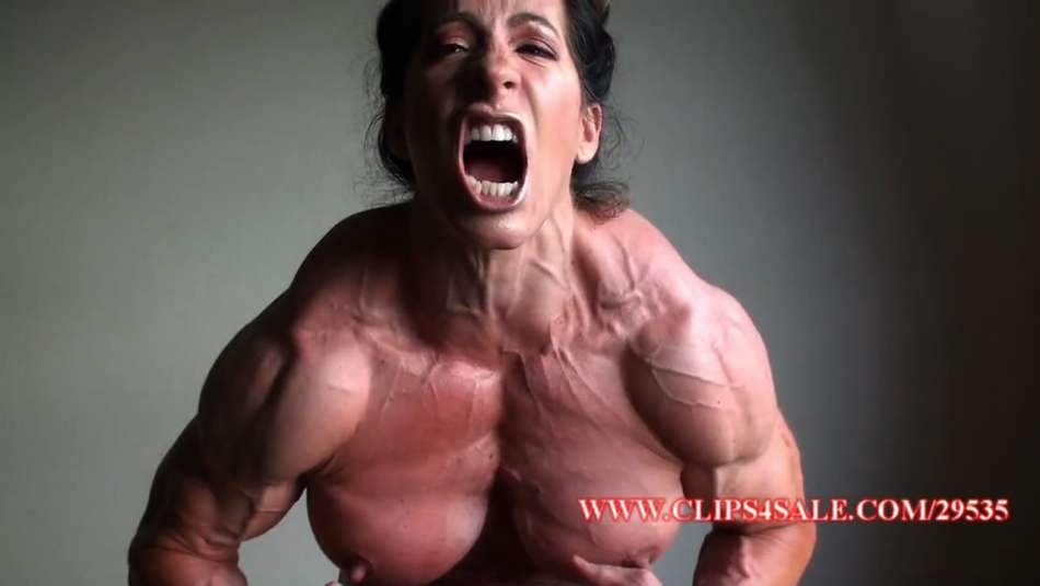 female bodybuilders angela salvagno flexing massive pecs on her webcam
