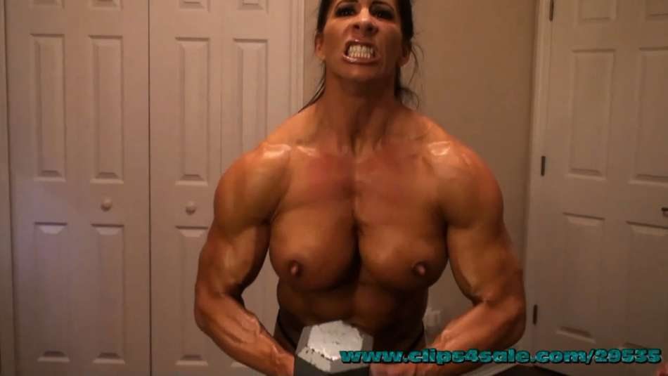 Angela Salvagno topless workout muscle girl