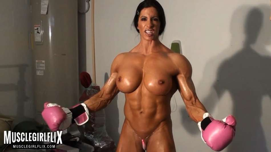 massive female bodybuilder angela salvagno boxing