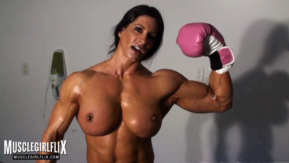 huge female bodybuilder angela salvagno flexing bicep