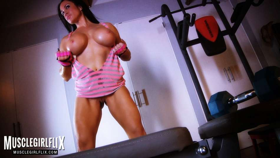 fitness model big tits working out topless
