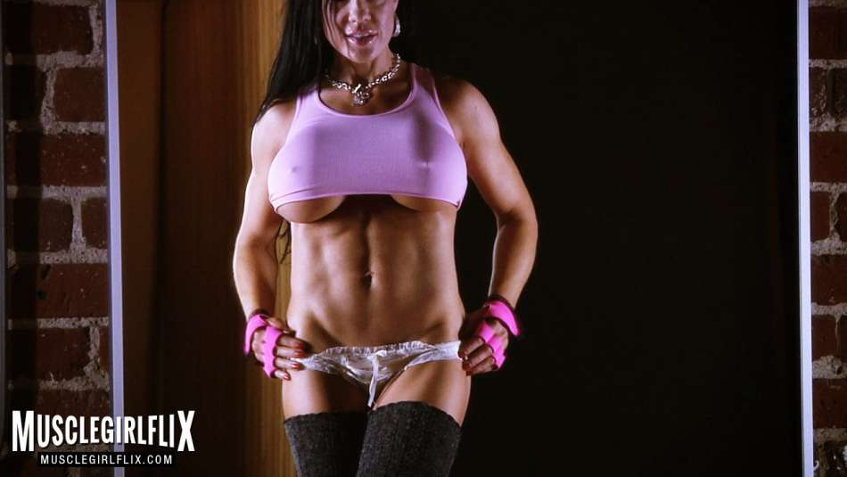abs on big tit fitness model
