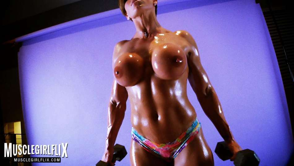 Goddess Rapture muscle girl flix pumping muscle