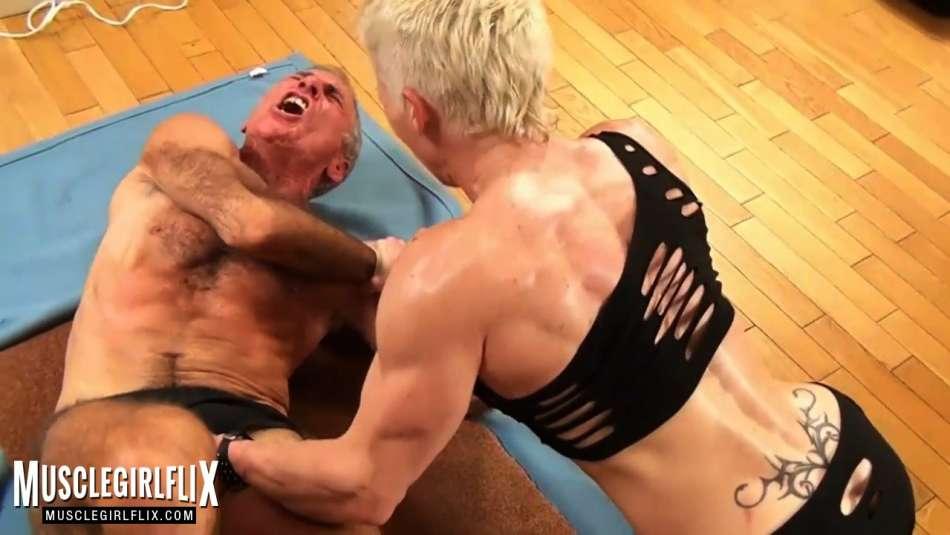 Mia Stella tight grip on man slaves balls