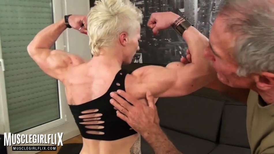 shredded back with muscle worship