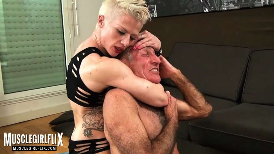 strong muscle girl choke and humiliates