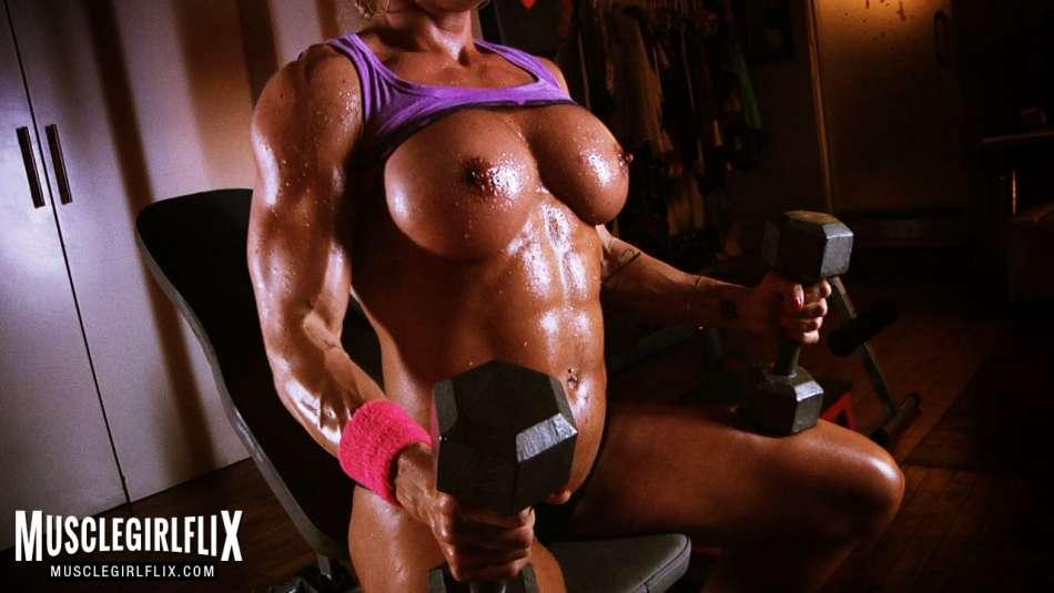 Female Bodybuilder Topless Workout Jill Jaxen