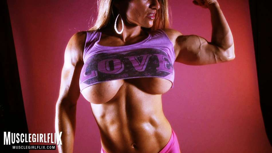 bodybuilder Maria Garcia showing off sexy muscles and underboob
