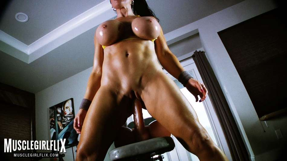 muscle girl massive tits sitting on cock