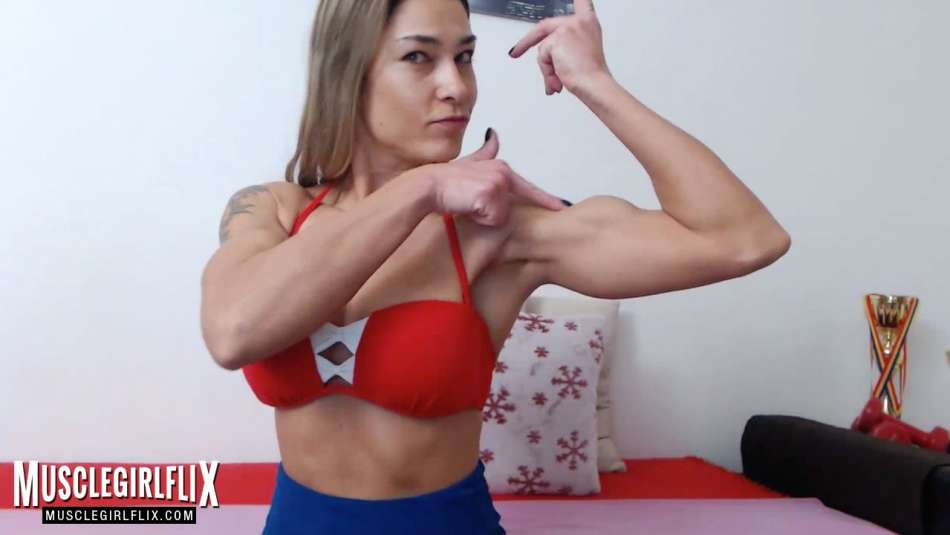 sexy fit gymnast on her webcam