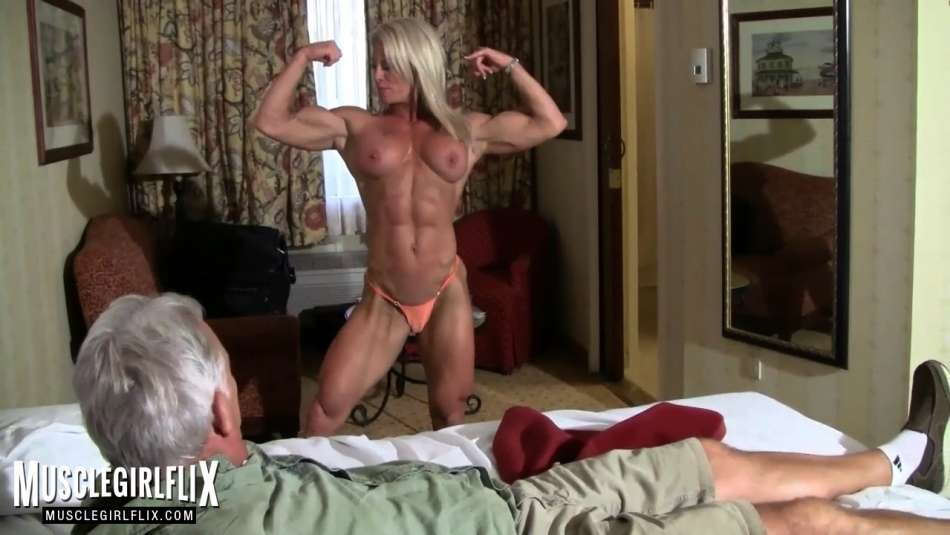 muscle MILF flexing biceps for muscle worship