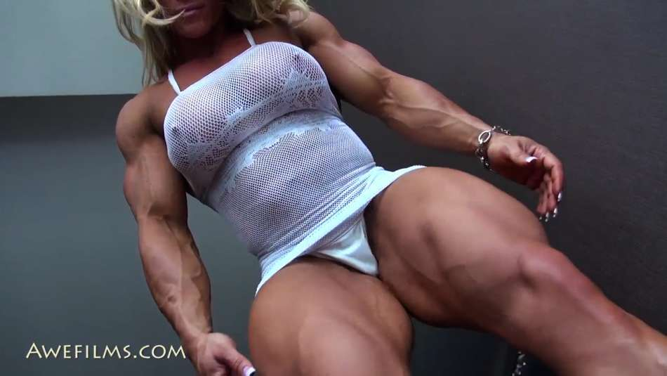 massive she hulk aleesha young showing off her strong legs