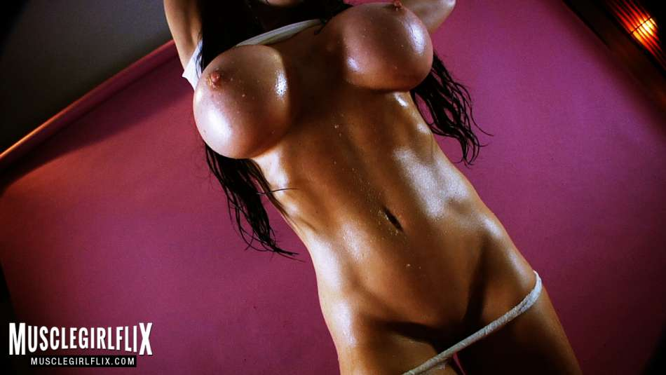 Samantha Kelly hot fitness babe dripping oil big tits