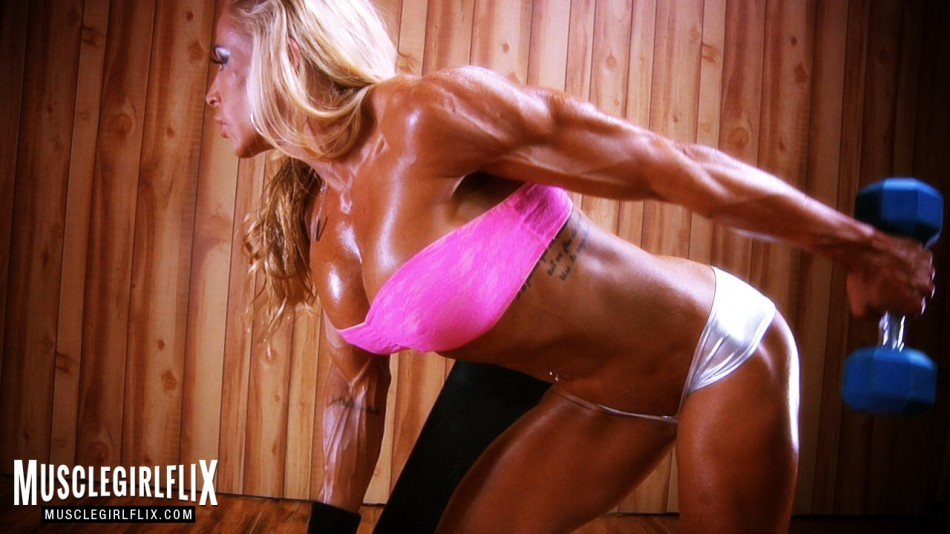 Jill Jaxen super hot blonde muscle girl workout