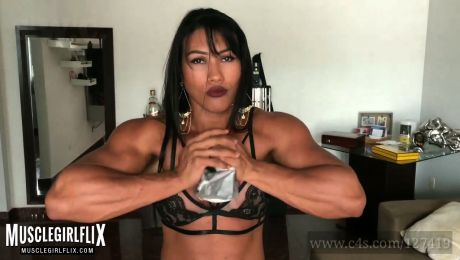 Strong Muscle Girl Metal Crushing Power Alessandra Alvez