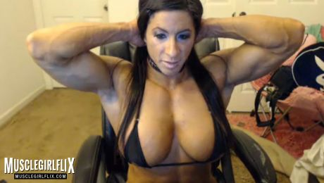 Angela Salvagno Huge Muscle & Boobs On Webcam