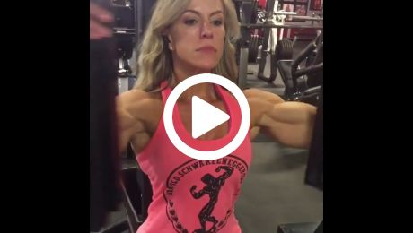 FBB Girl Huge Muscular Arms Working Out
