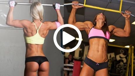 lots of fit girls with muscle doing pull ups