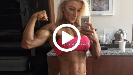 Girl with Muscle Flexing Her Muscles