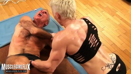Hot Muscle MILF Dominating and Busting Balls Mia Stella