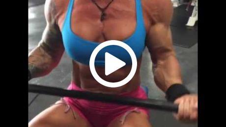 Muscular as Fuck Female Bodybuilder Bicep Curls