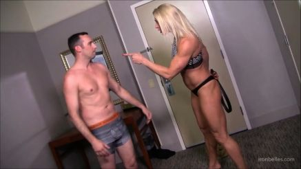 amazon muscle woman femdom crushing a guy