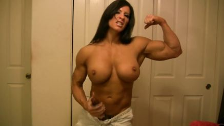 Angela Salvagno topless muscle girl with black strap on
