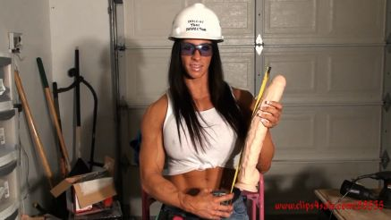 fbb Angela Salvagno measuring a monster dildo