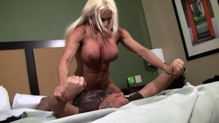 female bodybuilder porn ashlee chambers pinning a guy down topless