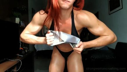 strong girl crushing metal pans
