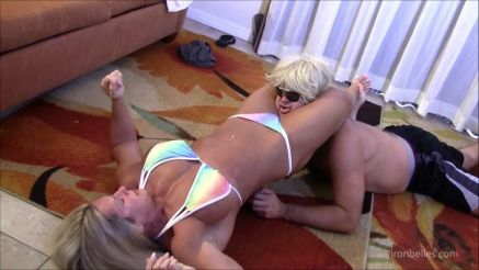 female bodybuilder mixed wrestling