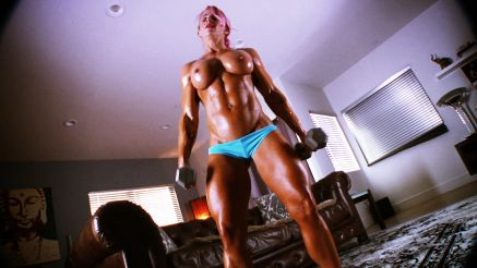 topless female bodybuilder contest shape amazing body