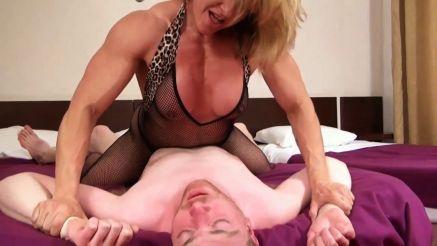 femdom fbb holding down a helpless guy