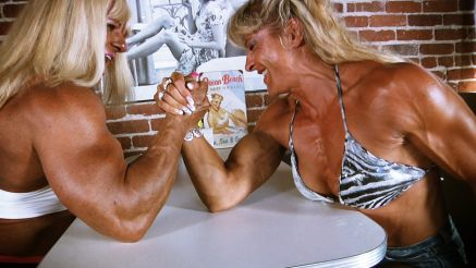 female bodybuilders arm wrestling
