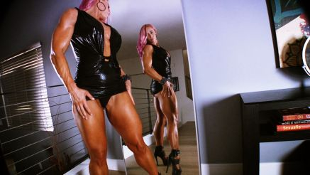 female bodybuilder hot tight dress ready to go out